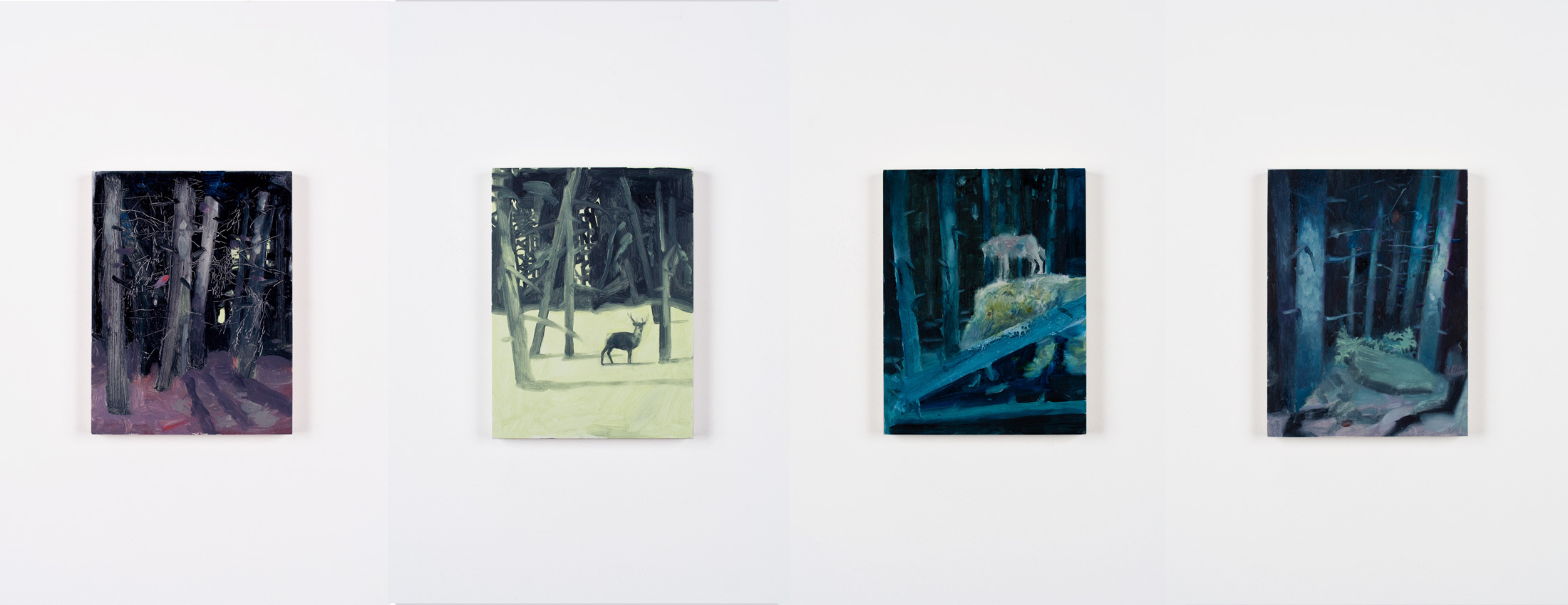 Four paintings from the series 'A Forest' to go into the forthcoming group show 'We Grow into the Forest'