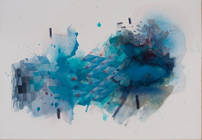 a turquoise crash of organic and geometric matter